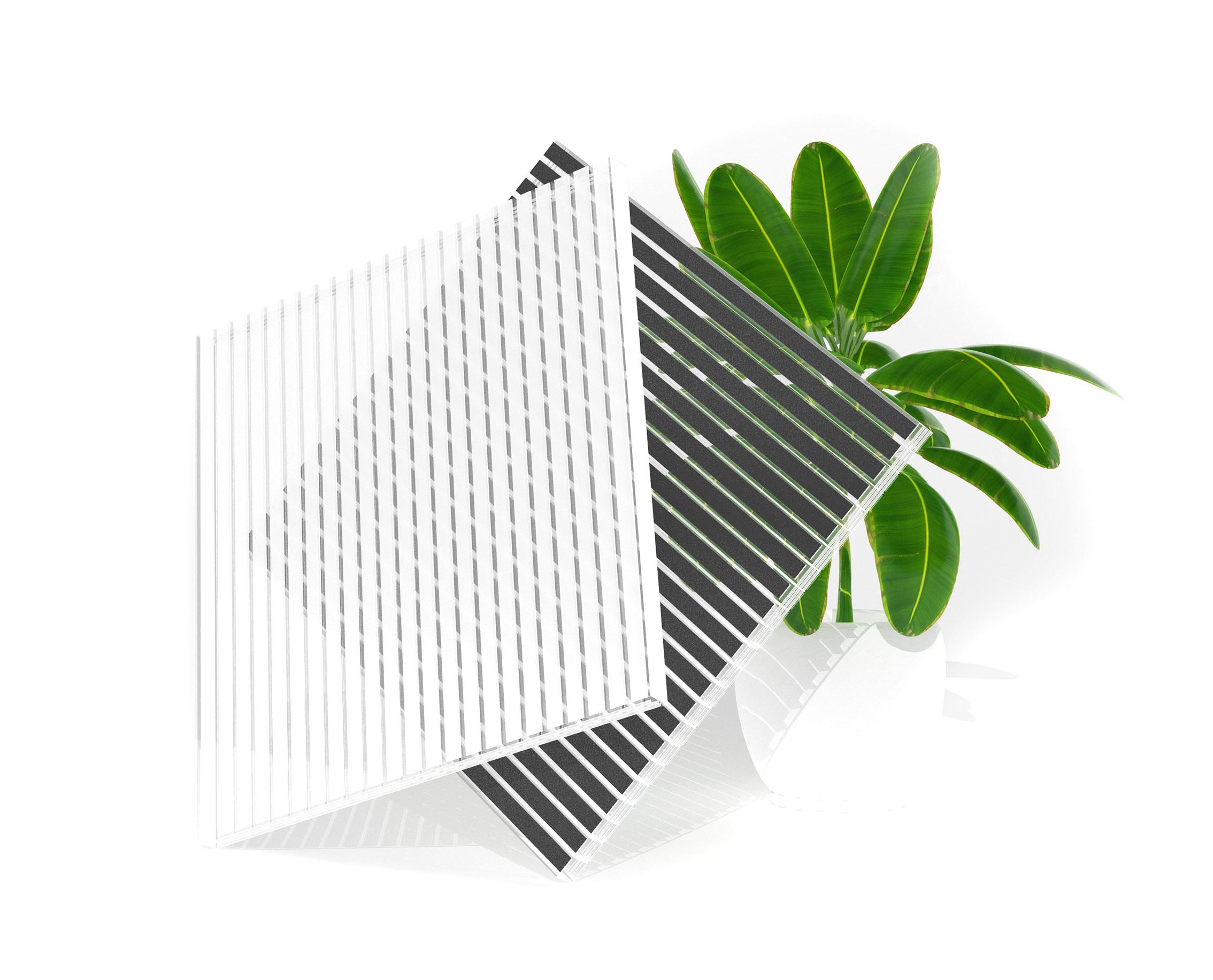Zebraplatte eine Hohlkammerplatte mit Streifen in weiß grau und anthrazit aus Polycarbonat